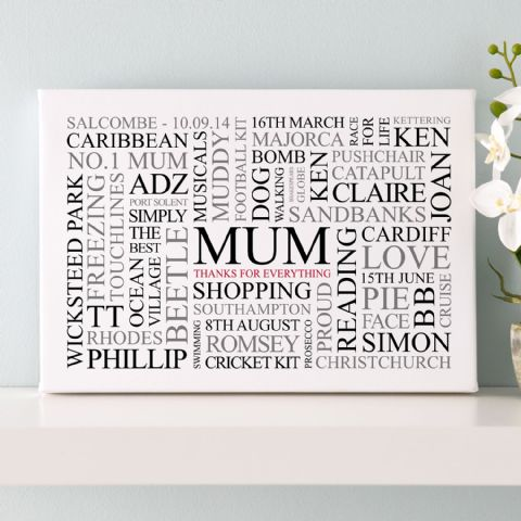 Mum's Favourites Word Art Print